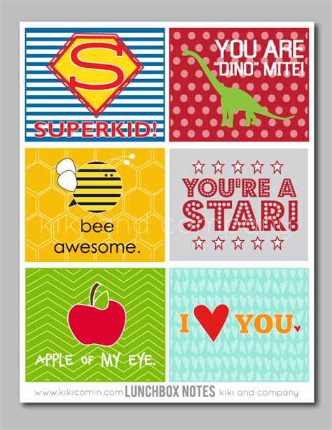 printable lunchbox notes lunch notes