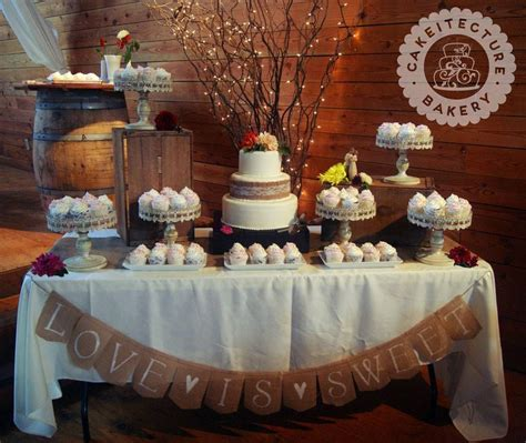 Wedding Cake Display Ideas by Burlap And Lace Wedding Cake And Cupcake Display