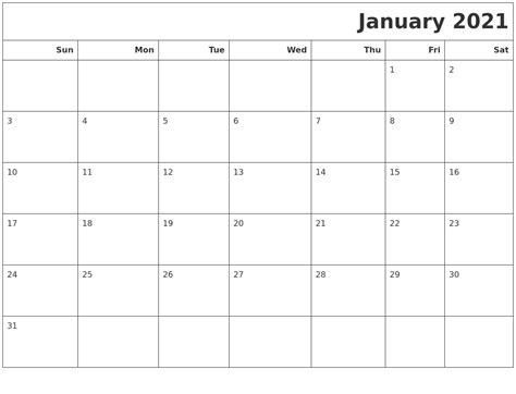 january 2021 calendars to print