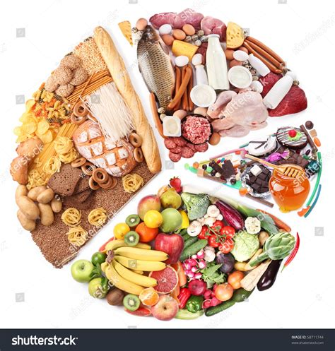 is balance a food food balanced diet form circle isolated stock photo