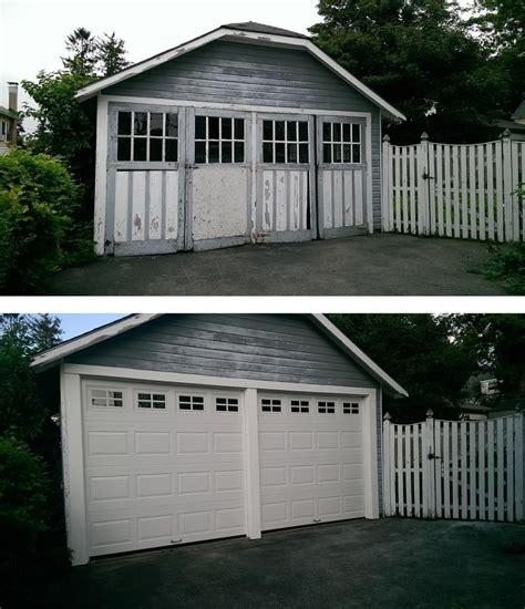 Mortland Overhead Door Wood Swing Doors Replaced With Haas Model 680 Raised Panel Steel Insulated Garage Doors In
