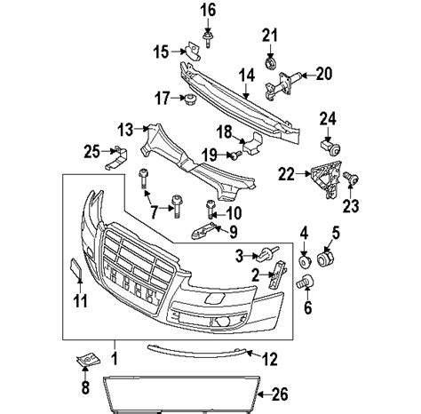 audi oem parts diagram parts 174 audi front bumper and grille bumper and