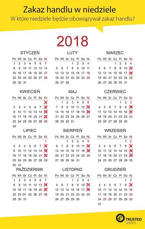 niedziele handlowe 2018 kalendarz wolnych niedziel 11 3