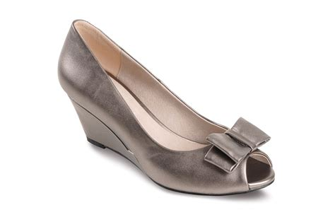 Bow Accent Wedge Shoes peep toe pewter black smart heel bow accent s