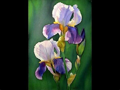 watercolor tutorial iris watercolor painting purple iris youtube art videos