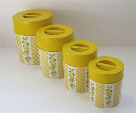 kitchen canister set retro yellow lemons lemonlove