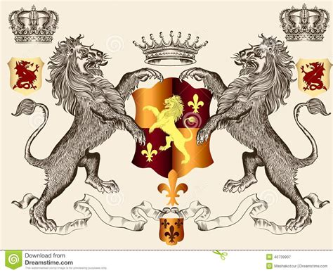 vector illustration of a stylish heraldic design with lions and shield stock vector image