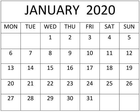 printable  january calendar template  excel word  calendar template