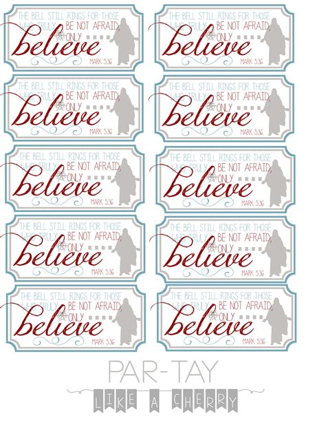 Printable Believe Tags | polar express bell tags party like a cherry