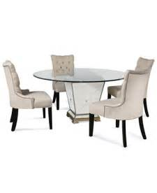 Mirror Dining Table Set Marais Dining Room Furniture 5 Set 54 Quot Mirrored Dining Table And 4 Chairs Furniture