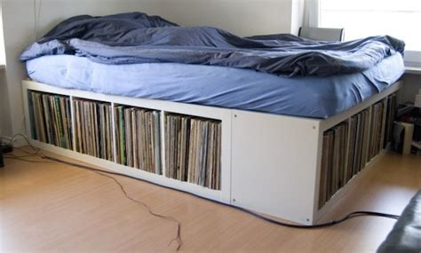 ikea hack bed frame the size bed with vinyl record storage the vinyl