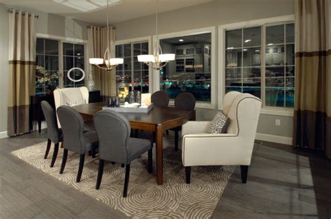 Grey And Black Chair Design Ideas Luxurious Grey Hardwood Floors With Interesting Chanelier Above Wood Table Closed Black Chair On