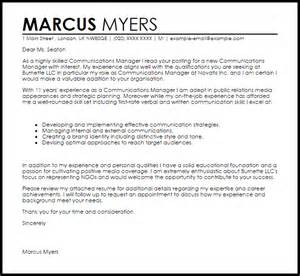 Cover Letter For Communications Communications Manager Cover Letter Sle Livecareer