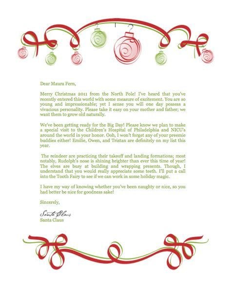 letter from santa claus santa claus letter new calendar template site