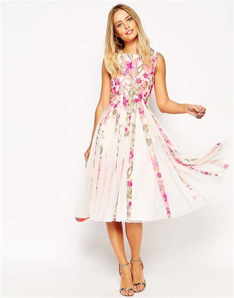 Rizaliana Flowery Flare Midi Dress lyst asos floral mesh insert fit and flare midi dress