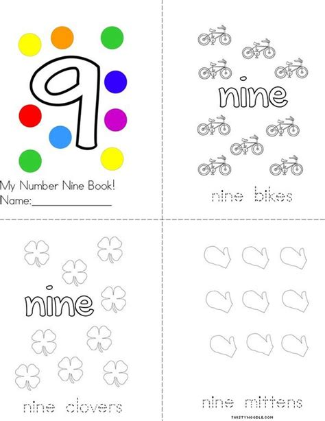 printable mini numbers my number nine book twisty noodle