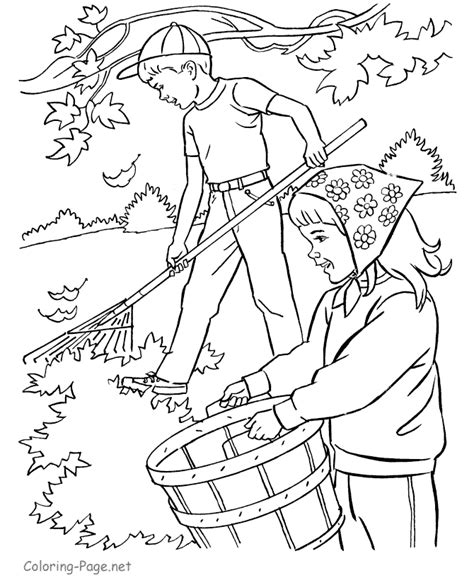 coloring pages of raking leaves autumn coloring book page raking leaves