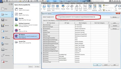 how to set template for ifc import revit revit