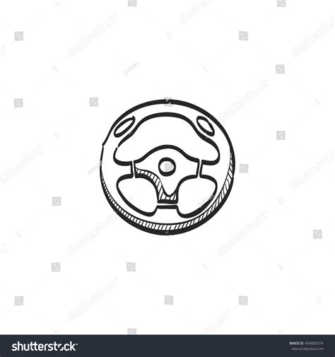 doodle wheel steering wheel icon doodle sketch lines stock vector