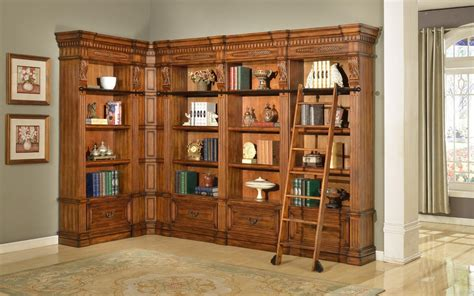 the grand manor granada bookcase library wall with ladder