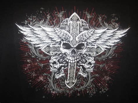 skull and cross tattoo skulls wings cross biker hoodie mens hanes