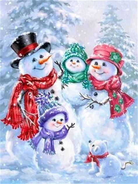 birds pair snow man diamond painting kit christmas paintings christmas pictures