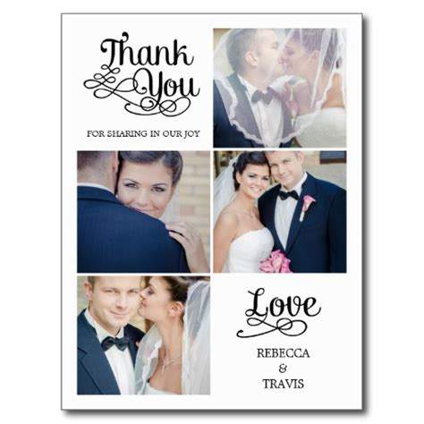 Wedding Wishes Postcards by Modern Calligraphy Wedding Thank You Card Postcard