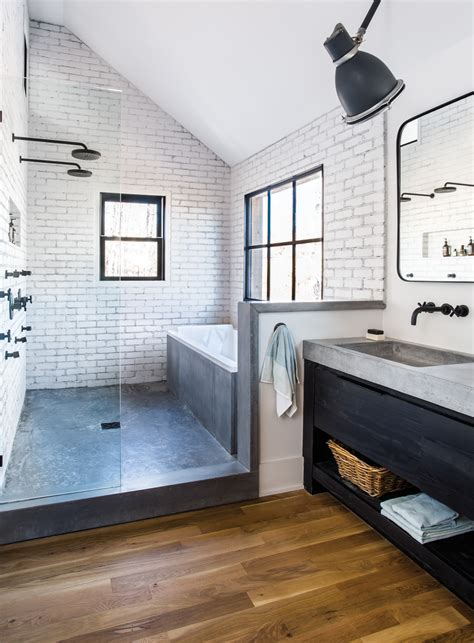 modern industrial bathroom room envy at serenbe a master bath with a modern