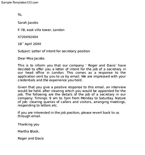 Letter Of Intent Posting Letter Of Intent For A Within The Same Company Sle Templates
