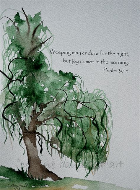 weeping willow tree watercolor painting with bible verse green