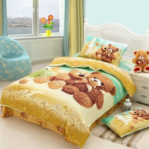 Twin Size Comforter Sets For Kids Teddy Bear Cartoon Cute Bedding Comforter Set For Kids
