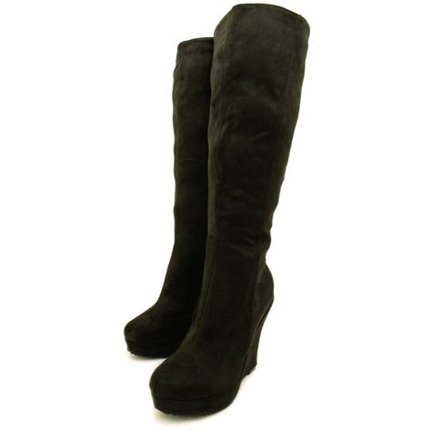 womans wedge boots womens black suede style wedge heel platform lace knee