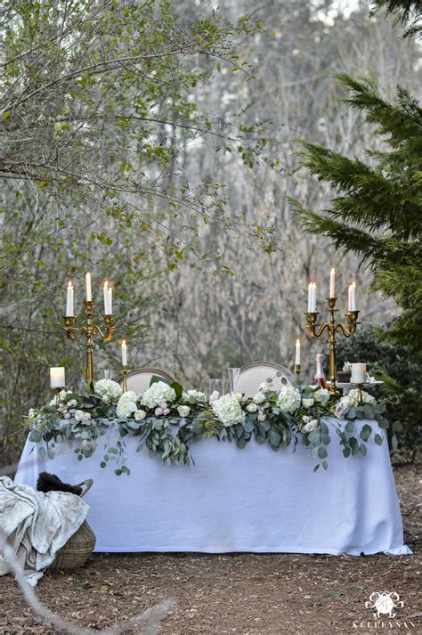 Table Centerpiece Ideas Romantic Outdoor Sweetheart Table Kelley Nan