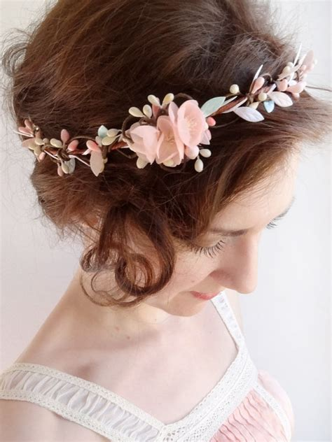 Wedding Hair Accessories For Bridesmaids by Mint Hair Floral Crown Mint Flower Circlet Blush