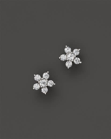 Dining Room Furniture Ct by Small Diamond Flower Cluster Stud Earrings In 14k White