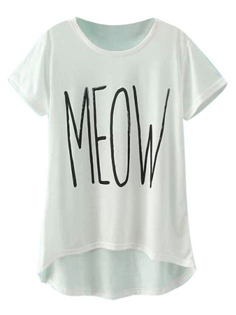 White Meow white meow print dipped hem sleeve t shirt choies