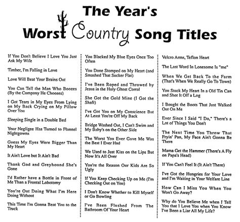 song titles year s worst country song titles handout humor wisdom