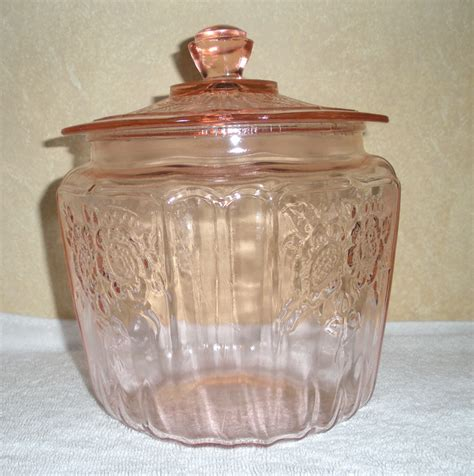 pink depression glass biscuit jar in mayfair open rose