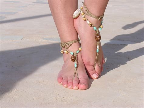 barefoot sandal barefoot sandals with shells and eco friendly yarn