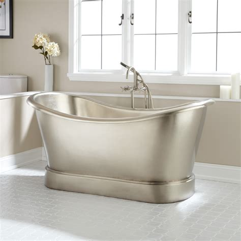 double bathtub 72 quot anastasia mosaic nickel plated copper double slipper