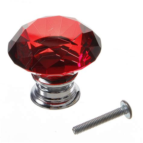 red crystal cabinet knobs 40mm crystal doorknob cabinet handle knob