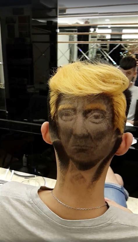 donald trump haircut hairdresser creates incredible donald trump portrait on