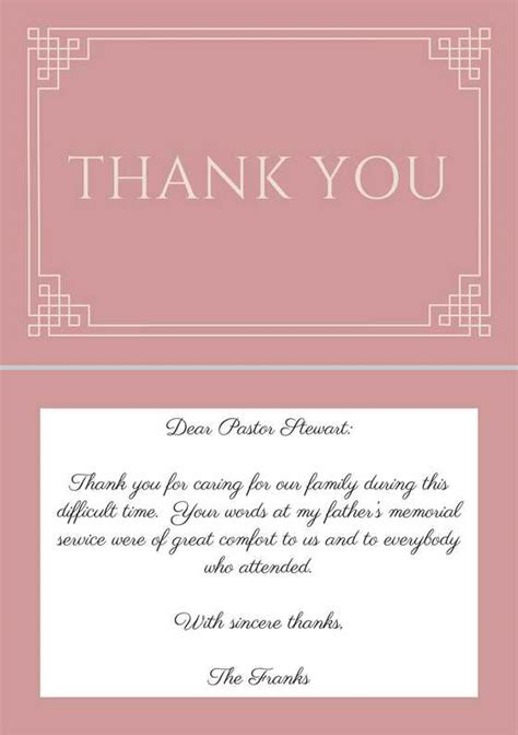 thank you letter to pastor for speaking 33 best funeral thank you cards funeral pastor and note