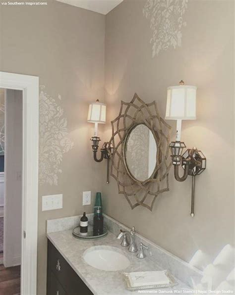 bathroom wall stencil ideas diy vintage style ideas with the antoinette damask stencils royal design studio stencils