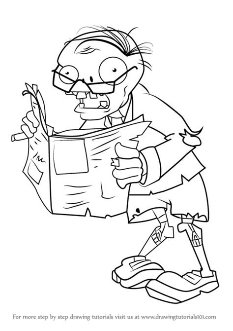 tutorial plants vs zombie learn how to draw newspaper zombie from plants vs zombies