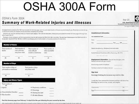 osha form  annual average number  employees form