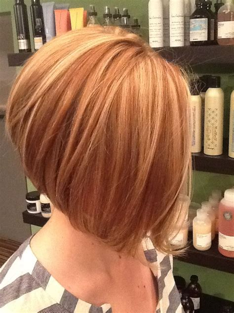slightly stacked bob haircut heavy highlight lowlight slightly stacked a line bob