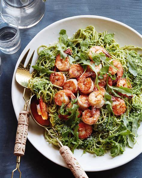 arugula pesto pasta with garlic shrimp what s gaby cooking