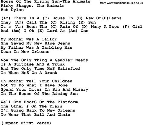 house music song lyrics country music house of the rising sun the animals lyrics and chords