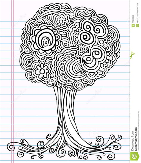 doodle with notebook doodle sketch tree vector stock photos image